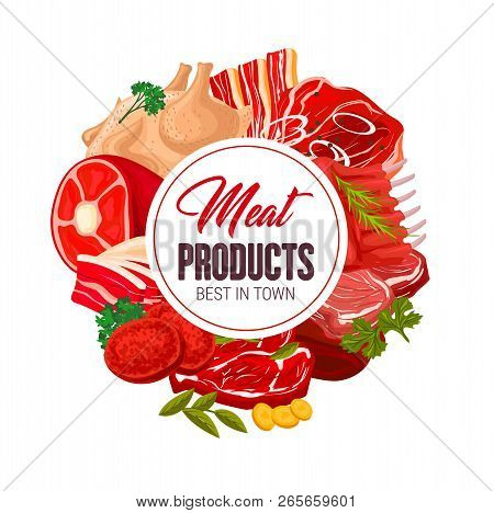 Meat Products Poster For Butcher Shop Or Gourmet Farmer Store. Vector Design Of Chicken Or Turkey, P