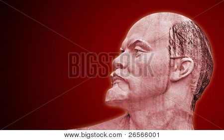Head of the soviet leader Lenin on a red background poster