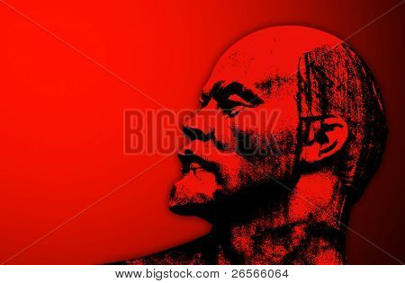 Stylized head of Lenin on a red background