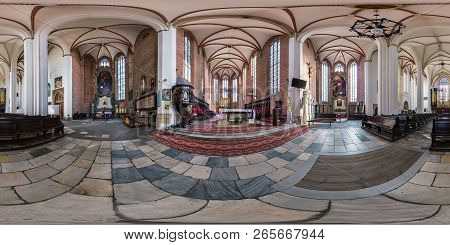 Wroclaw, Poland - September, 2018: Full Seamless Spherical Panorama 360 By 180 Degrees Angle View In