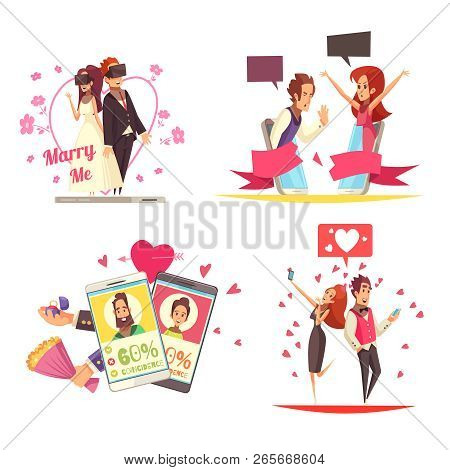 Virtual And Real Love Design Concept With Compositions Of Online Dating Apps Pictograms And People I
