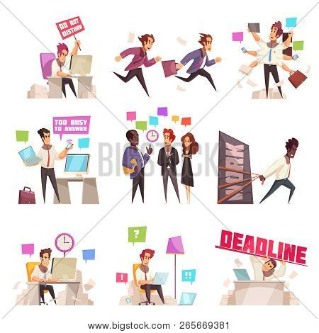 Business People Isolated Icons Set Of Too Busy And Hurrying To Work Office Workers Flat Vector Illus