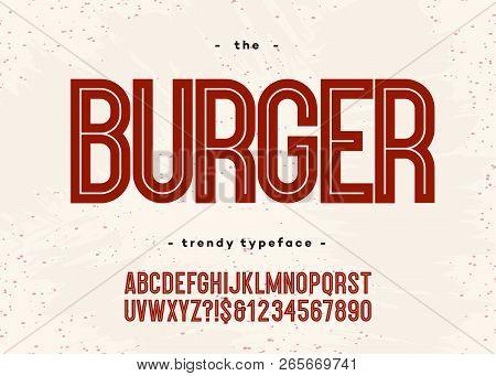 Vector Bold Burger Font Modern Typography Sans Serif 3d Style For Menu, Food Market, Promotion, Post