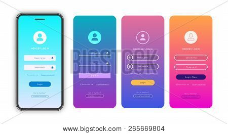 Vector Login Form Page Template Set On Trendy Gradient Background For App Development, Smartphone Mo