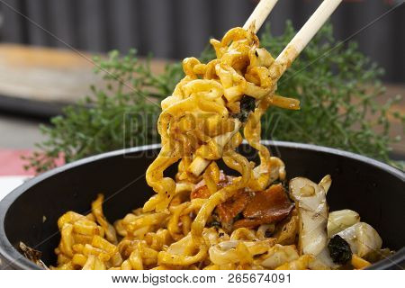 Traditional Chicken Yakisoba. Japanese And Chinese Pasta