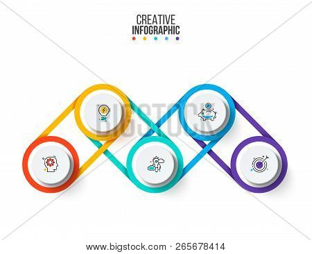 Vector Infographic Design Template. Business Concept With 5 Options, Parts, Steps Or Processes. Can