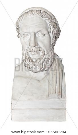 Ancient statue of the greek poet Homer isolated on white with clipping path