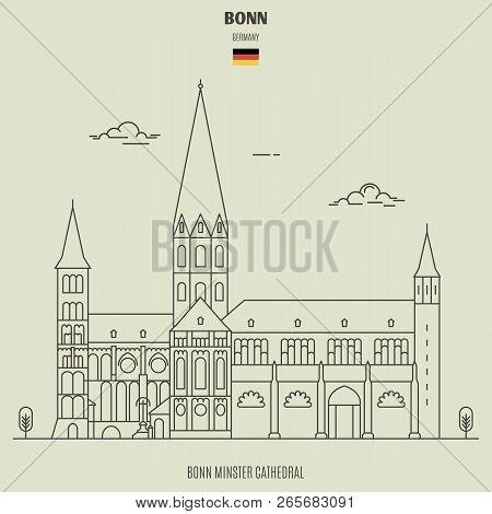 Bonn Minster Cathedral In Bonn, Germany. Landmark Icon In Linear Style
