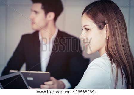 Confidence Asian Business Woman In White Portrait Business Office
