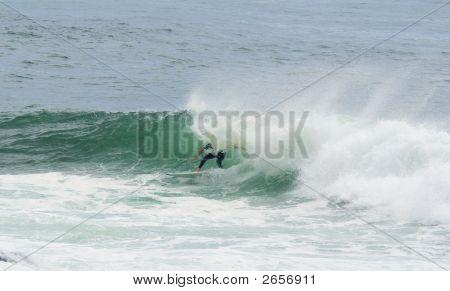 Surfer Surfing Dump Wave