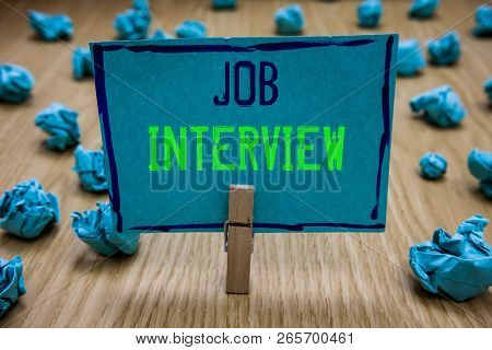 Handwriting Text Writing Job Interview. Concept Meaning Assessment Questions Answers Hiring Employme