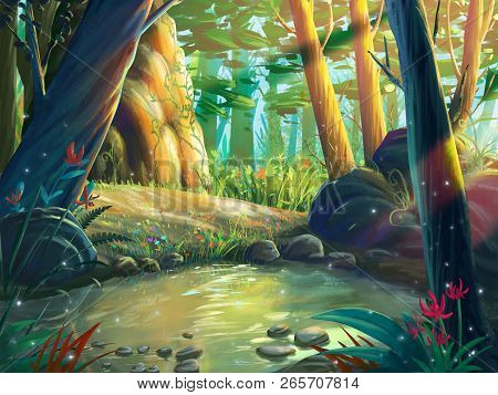 The Fantasy Forest Moring By The Riverside With Fantastic, Realistic And Futuristic Style. Video Gam