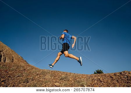 Man Athlete Runner Running Uphill Mountain Trail
