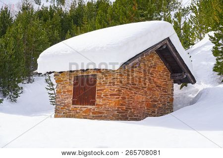 Pal snow house in Andorra Pyrenees sunny day poster