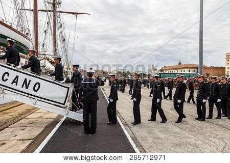 Cadiz, Spain - Apr 01:  Midshipmen Embarking On The Spanish Navy Training Ship, Juan Sebastian De El