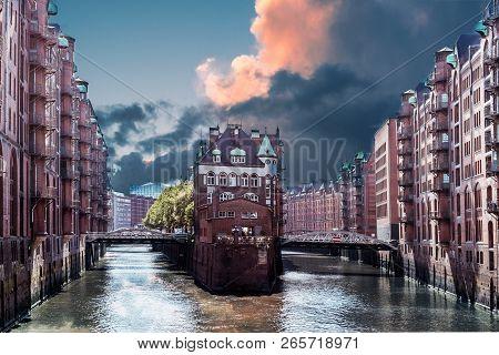 Hamburg Warehouse District With Dramatic Sky. Hamburg Landmarks. Hafencity Germany