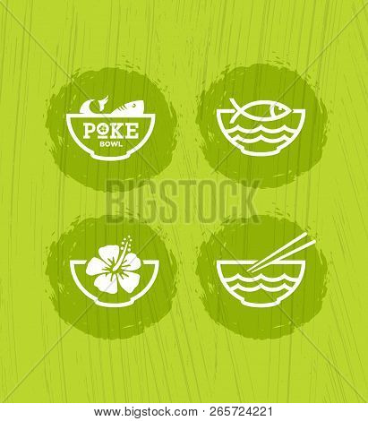 Poke Bowl Hawaiian Cuisine Restaurant Vector Design Element. Healthy Food Menu Creative Rough Illust