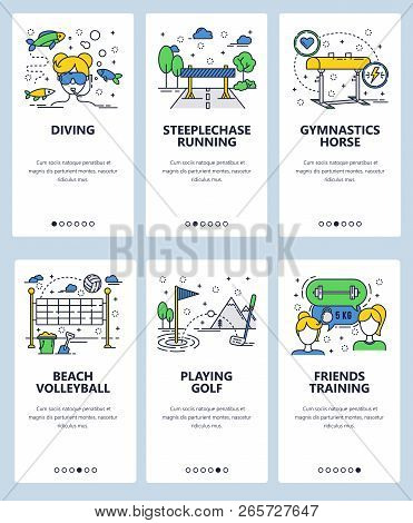 Vector Web Site Linear Art Onboarding Screens Template. Sport And Fitness Icons. Scuba Diving, Beach