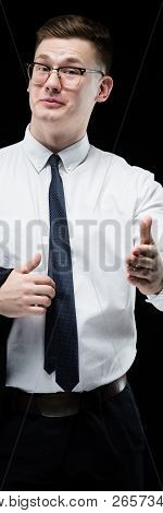 Portrait Of Confident Handsome Ambitious Smiling Elegant Responsible Businessman With Thumb Up On Bl