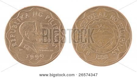 5 piso coin of Philippines. Coin isolated on white