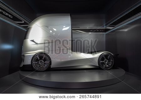 Hannover, Germany - Sep 27, 2018: Ford F-vision Future Electric And Autonomous Truck Showcased At Th