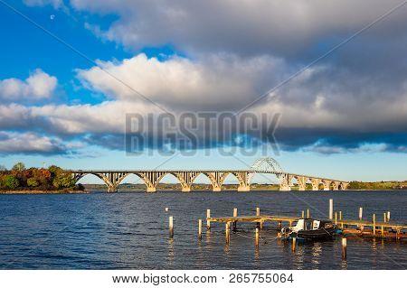 A Bridge Between Seeland Und Moen In Denmark.