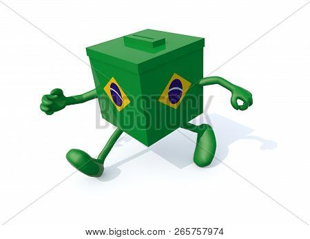 Brasilian Election Ballot Box With Arm And Legs That Runs Away, 3d Illustration