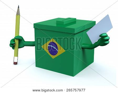 Brasilian Election Ballot Box With Arms, Envelope Paper And Pencil On Hands, 3d Illustration