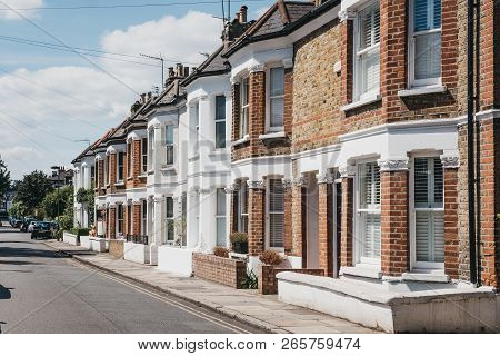 London, Uk - August 1, 2018: Row Of Typical British Terraced Houses In Barnes, An Affluent Residenti