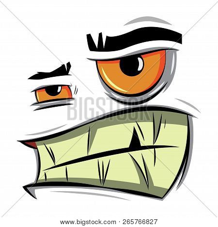 Angry Cartoon Face. Vector Illustration Of Emotion Of Aggression, Irritation And Discontent.