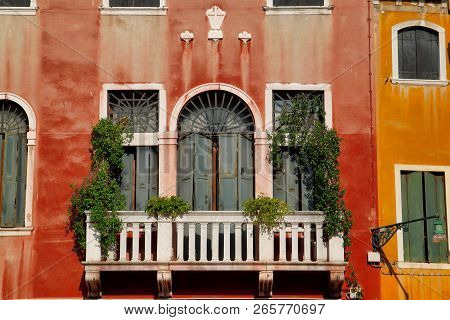 View Of House Windows And Balcony In The Old Town Venice Italy