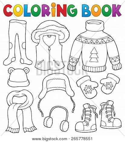 Coloring Book Winter Clothes Topic Set 2 - Eps10 Vector Illustration.