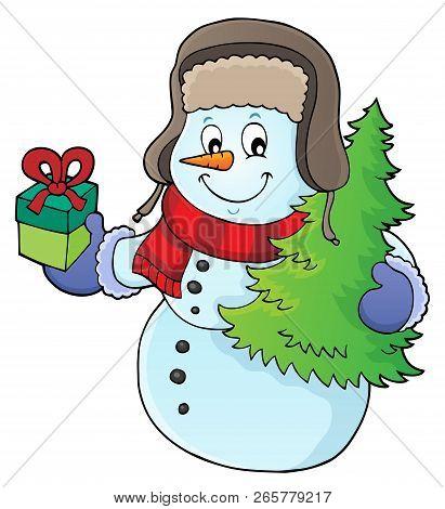 Christmas Snowman Subject Image 1 - Eps10 Vector Illustration.