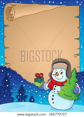 Christmas Snowman Subject Parchment 1 - Eps10 Vector Illustration.
