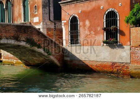 View Of Houses And Canal Street With Brige In The Old Town Venice Italy