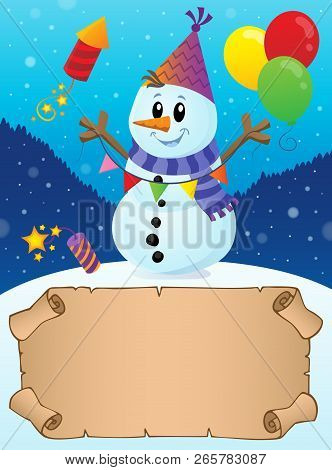 Small Parchment In Winter Party Theme 2 - Eps10 Vector Illustration.