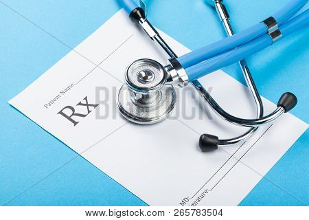 Closeup Of A Stethoscope On A Rx Prescription. Close Up. Object. Macro Photoraphy