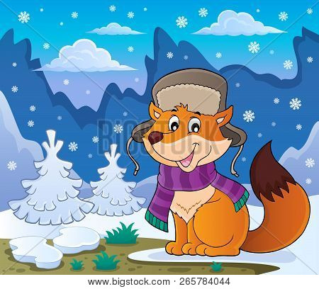 Winter Fox Theme Image 2 - Eps10 Vector Illustration.