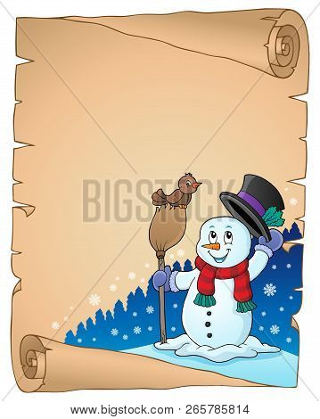 Winter Snowman Subject Parchment 1 - Eps10 Vector Illustration.