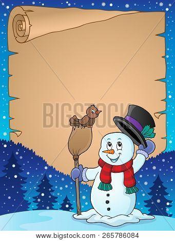 Winter Snowman Subject Parchment 3 - Eps10 Vector Illustration.