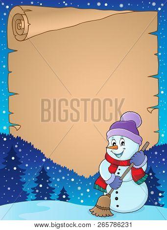 Winter Snowman Subject Parchment 4 - Eps10 Vector Illustration.