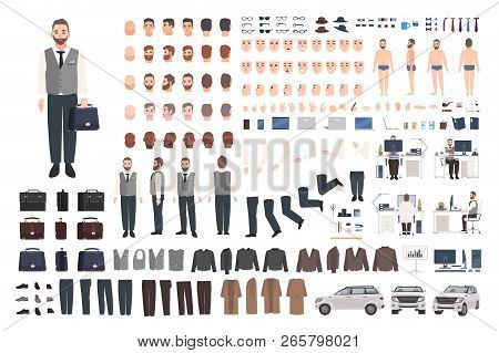 Bearded Office Worker, Clerk Or Manager Creation Set Or Diy Kit. Bundle Of Male Cartoon Character Bo