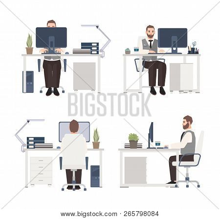 Bearded man working on computer at workplace. Male clerk or manager sitting at office desk. Flat cartoon character isolated on white background. Front, side and back views. Vector illustration. poster