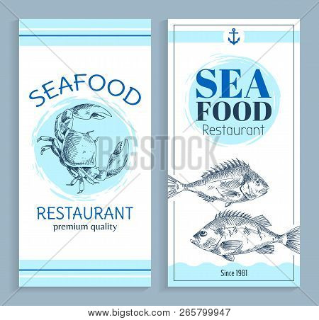 Best Quality Seafood Restaurant Hand Drawn Banner With Anchor Symbol. Bream And Crab Marine Products
