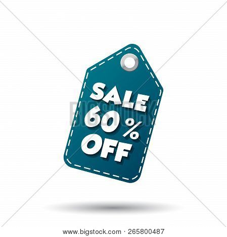 Sale 60 Percent Off Tag. Label Vector Illustration On White Background