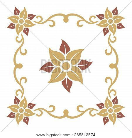 Flower Vintage Ornament Pattern Frame Vector , Border Ornament Pattern Frame, Engraving Ornament Pat
