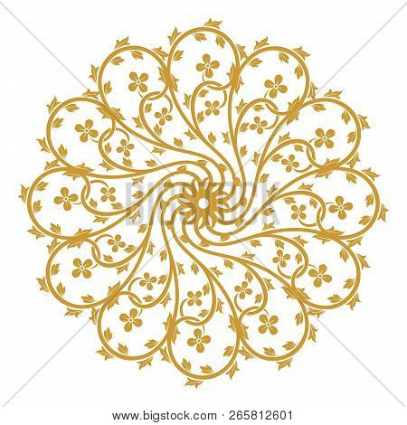 Golden Vintage Ornament, Baroque Ornament, Scroll Ornament, Engraving Border Ornament, Floral Orname