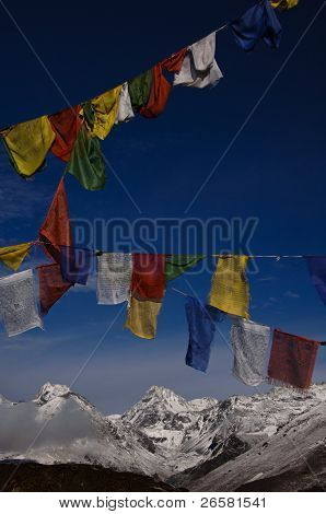 Prayer Flags With Himalaya Mountain Landscape
