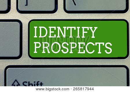 Word writing text Identify Prospects. Business concept for Possible client Ideal Customer Prospective Donors poster