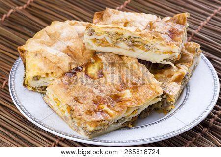Turkish Style Meat And Cheese Stuffed Filo Dough Borek Served Su Boregi
